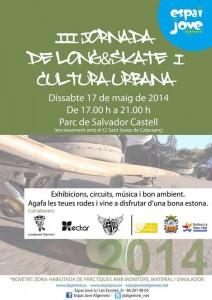 Cartel del evento de SKATE y LONGBOARD en Algemesí. 17 de mayo 2014