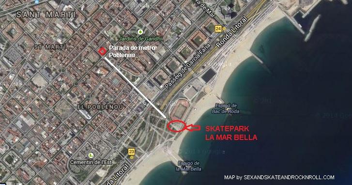 Localización de La Mar Bella skatepark