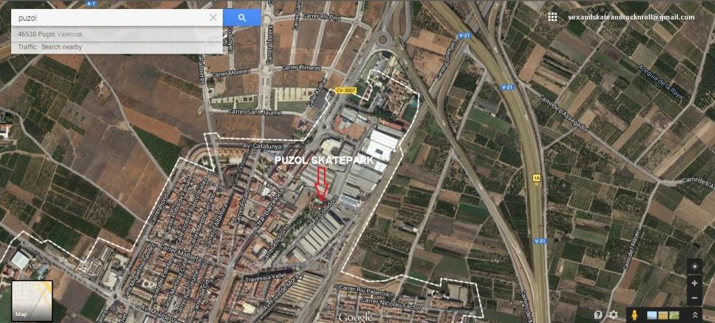 Cómo llegar al skatepark de Puzol.  Puçol skatepark. Dónde está? Cómo llegar?