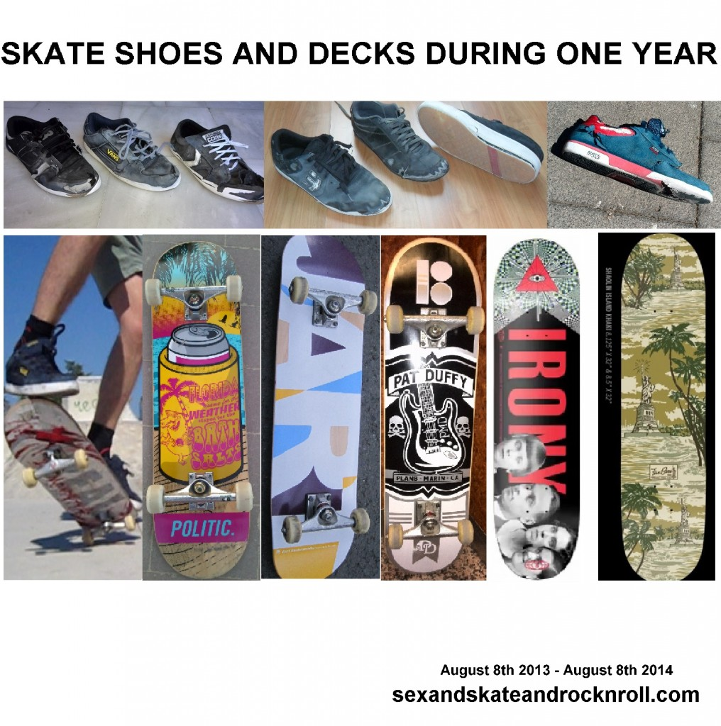 skateboarding decks and shoes used during a whole year -sexandskateandrocknroll.com