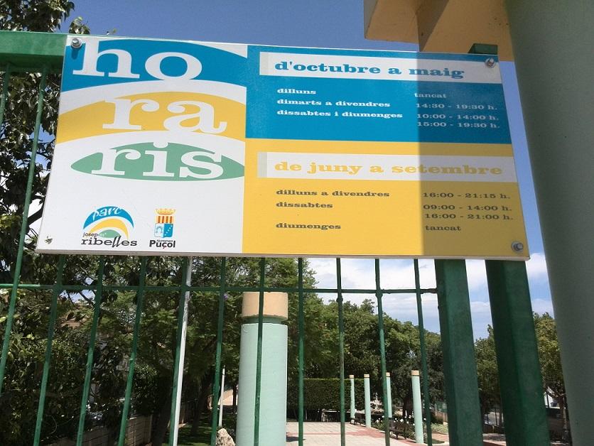 Horario de apertura al público del parque Josep Ribelles. Horarios skatepark de Puzol  Puçol